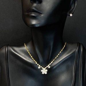 Simple Dainty Rhinestone Necklace Set